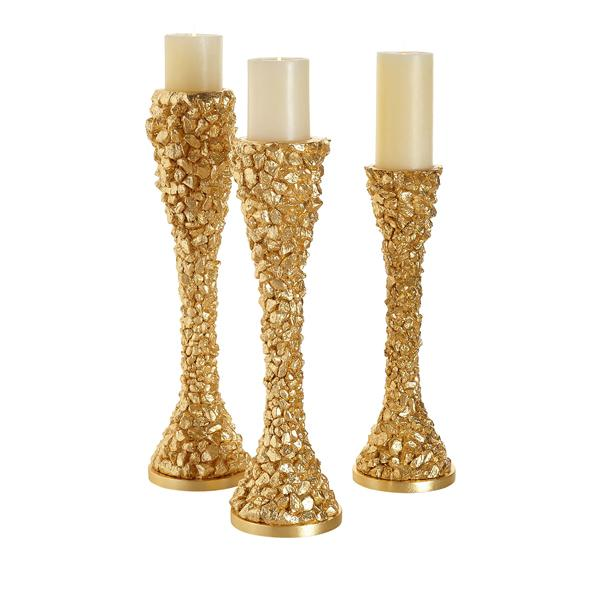 Couture Lamps Gold Nugget Candleholders